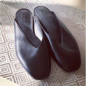 Vince Levins Black Leather Mules New Size 39/9